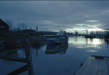 Ladner Harbor at sunset.