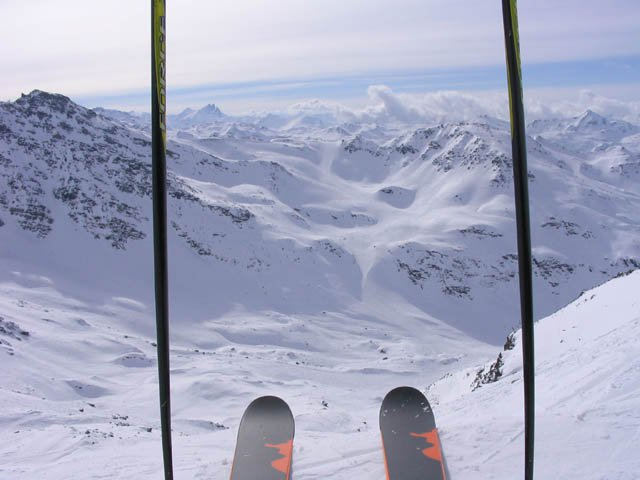 My first trip the the French portion of the Alps, just about to drop in from the top of Mont Vallon
