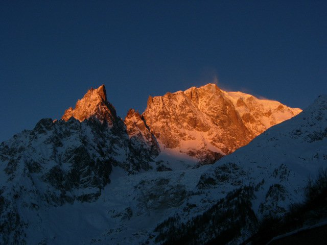 Looking up to Mt Blanc not strictly skiing but still a nice photo at dawn