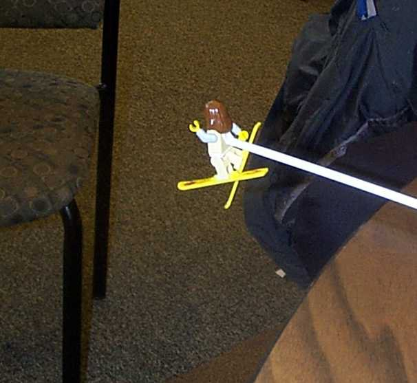Are Lego ski Dude doing a Tail grab off the table drop