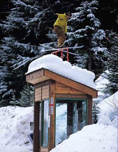 ski slide hand rail over bus stop