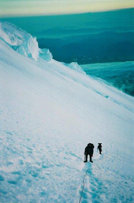 part way up the Emmons glacier on Rainier