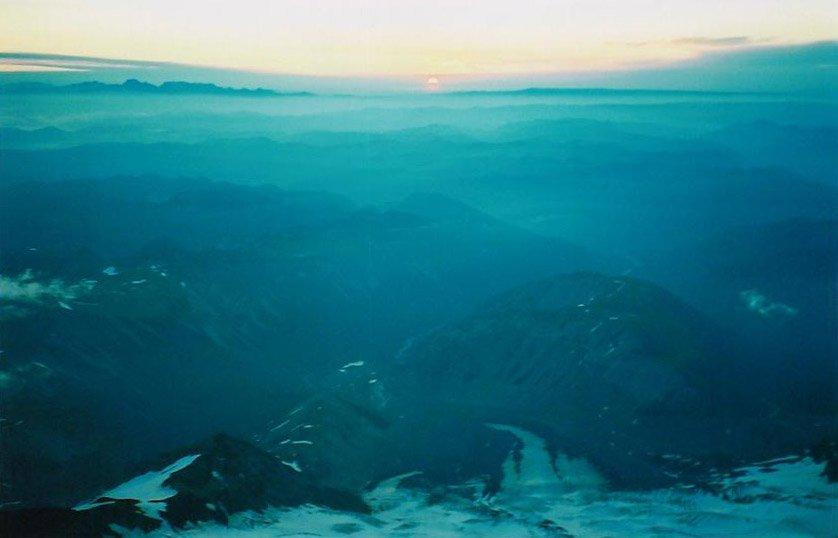 sunrise taken part way up Mt Rainier