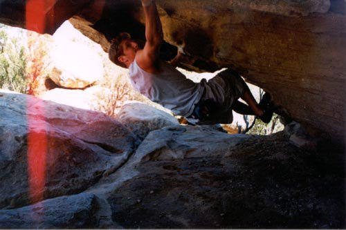 Ahren hittin a nice overhang rock climbing