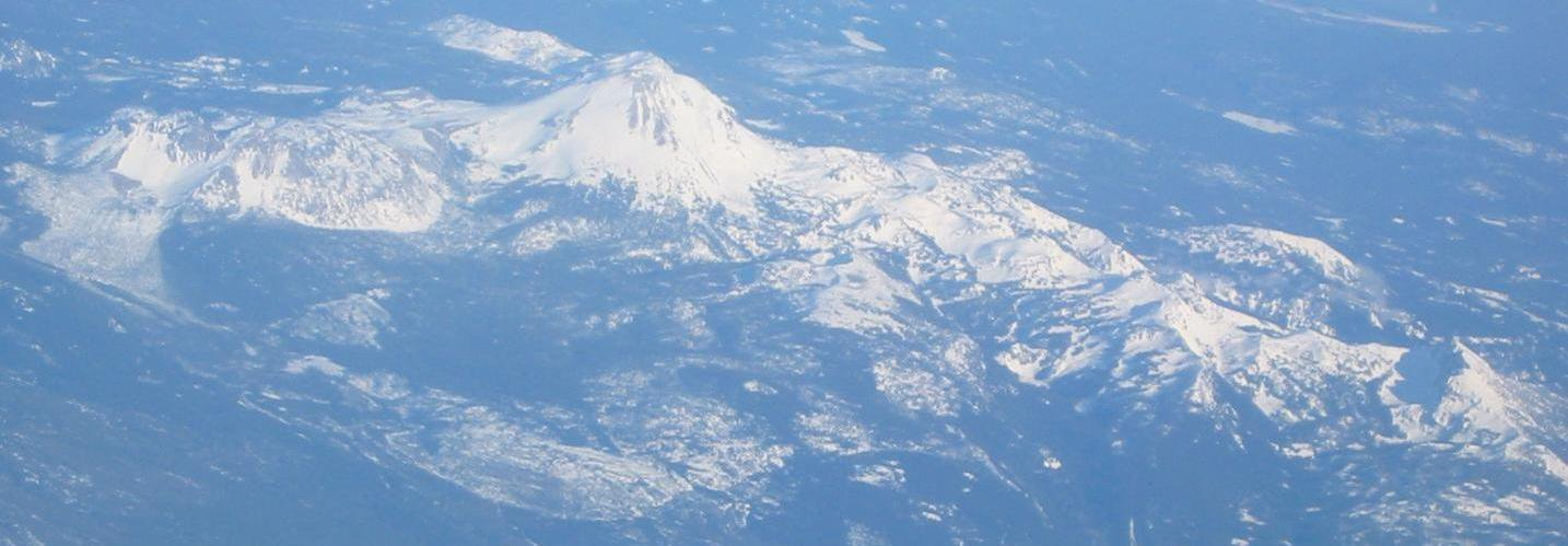Different angle of Shasta from the plane