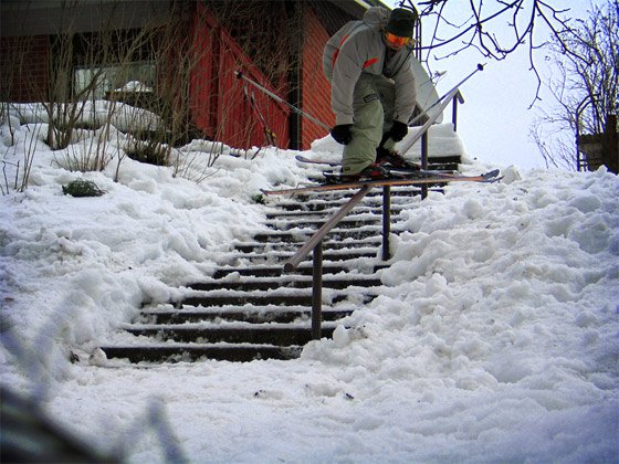 Railslide on handrail