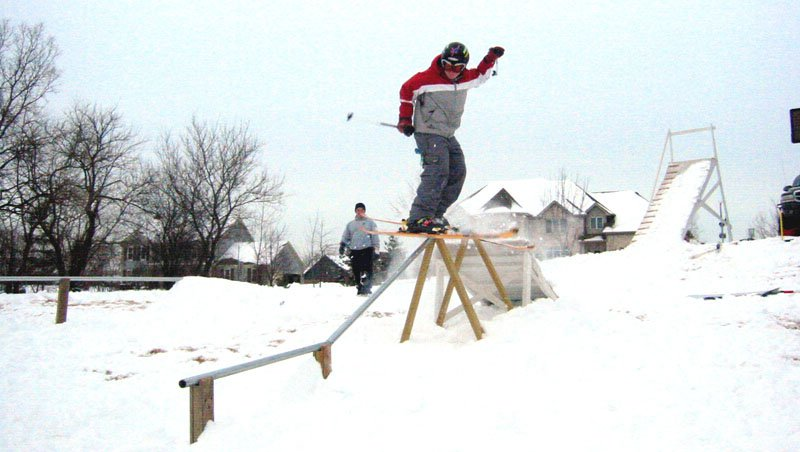 My backyard rail setup. The local hill around my house (Wilmot) really sucks when it comes to making