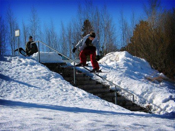 Unnatural railslide on handrail