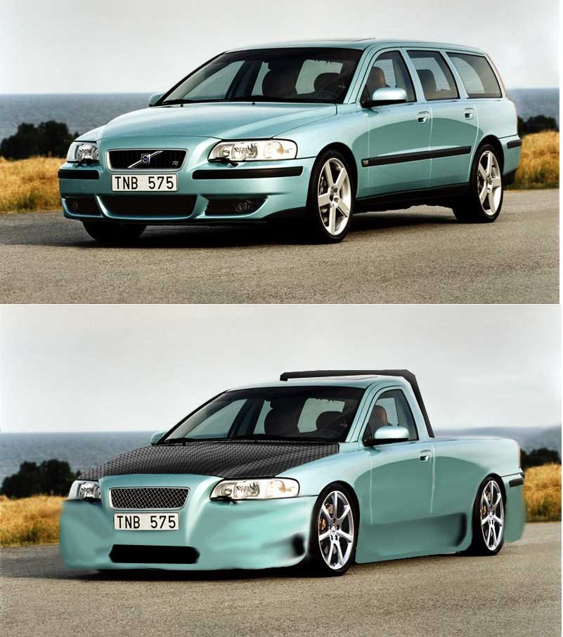 volvo v70 photoshopped- pickup conversion. before /after. all modified by me