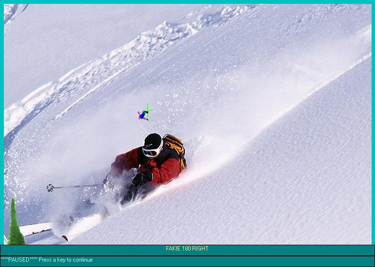 Screenshot of a skiing game my brother and I made