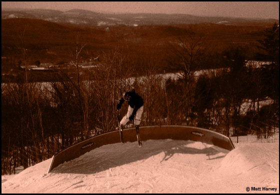 Denise on the banked c rail at Tremblant