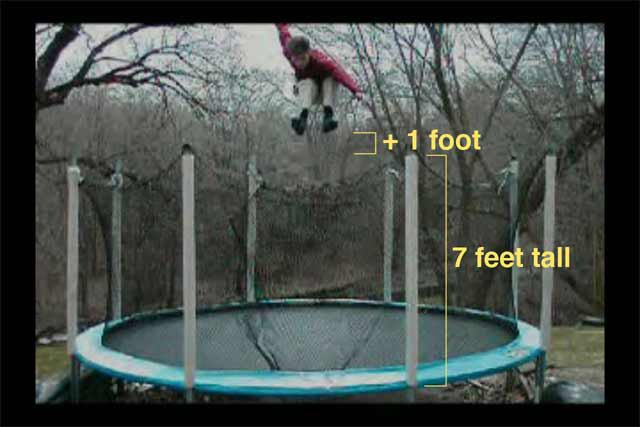 This is a picture of how high i jump right before I realease my corked 1080. 8 feet above the surfac