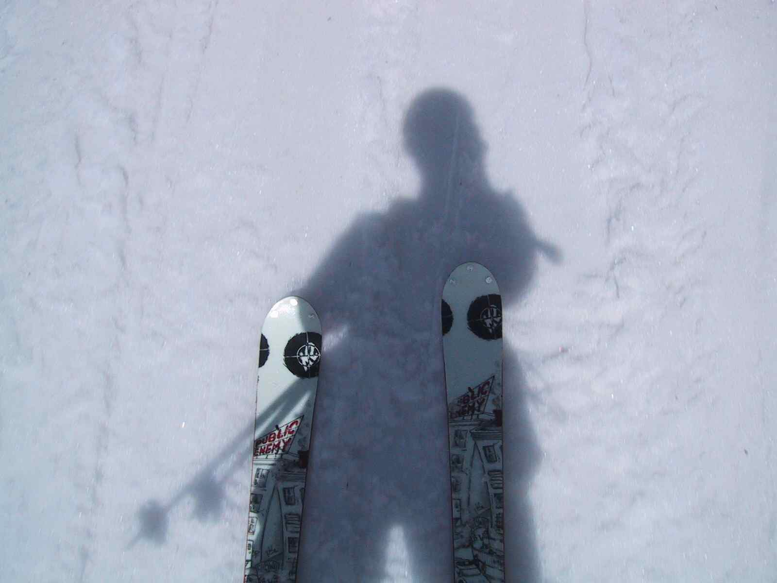 skis and a shadow