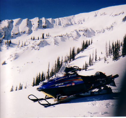 The Sled in front of some backcountry lines in CB