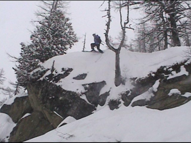 Byron dropping a cliff in Chamonix France