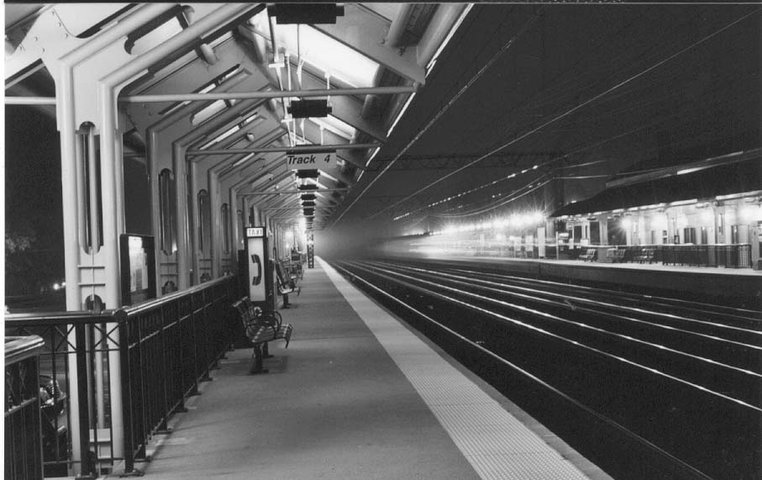 train leaving- blurred by long exposure