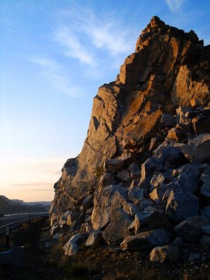 rocks and road.