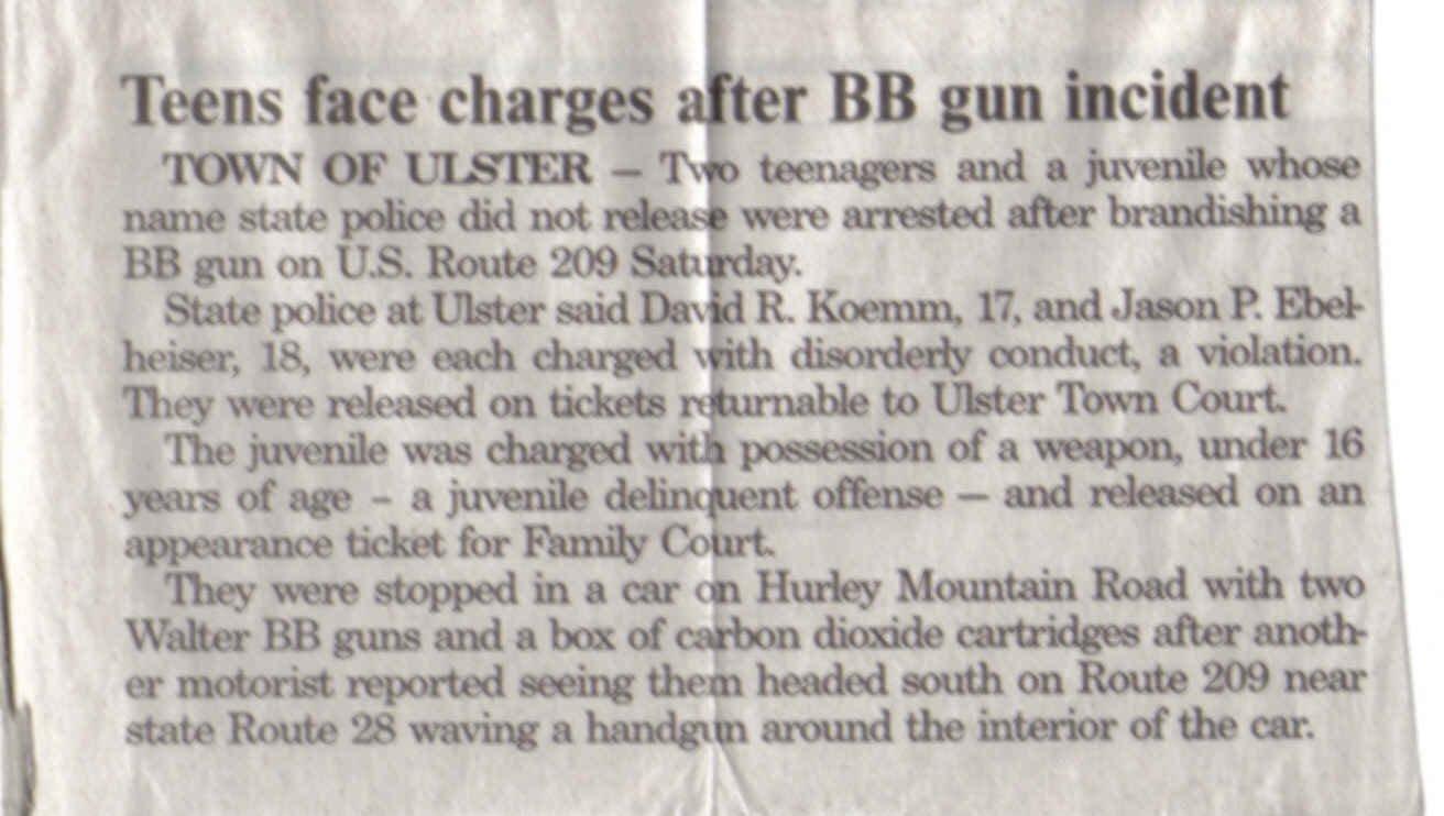 NEWSPAPER ARTICLE after we got arrested!! SWEET!!