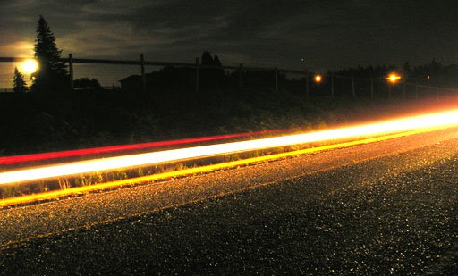 night long exposure of car