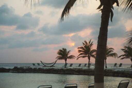 Sunset on beach in Aruba