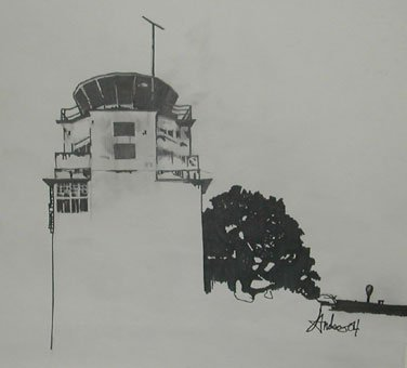 drawing of a flight command tower