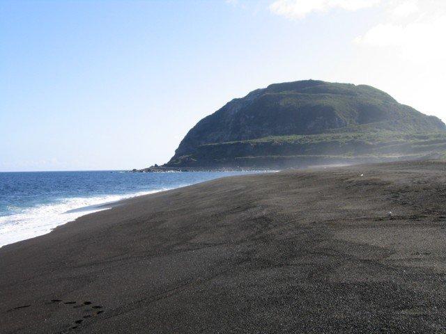 Picture of Mt. Suribachi and invasion beach on Iwo Jima.