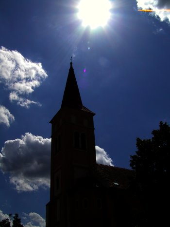 silhouette picture of a church
