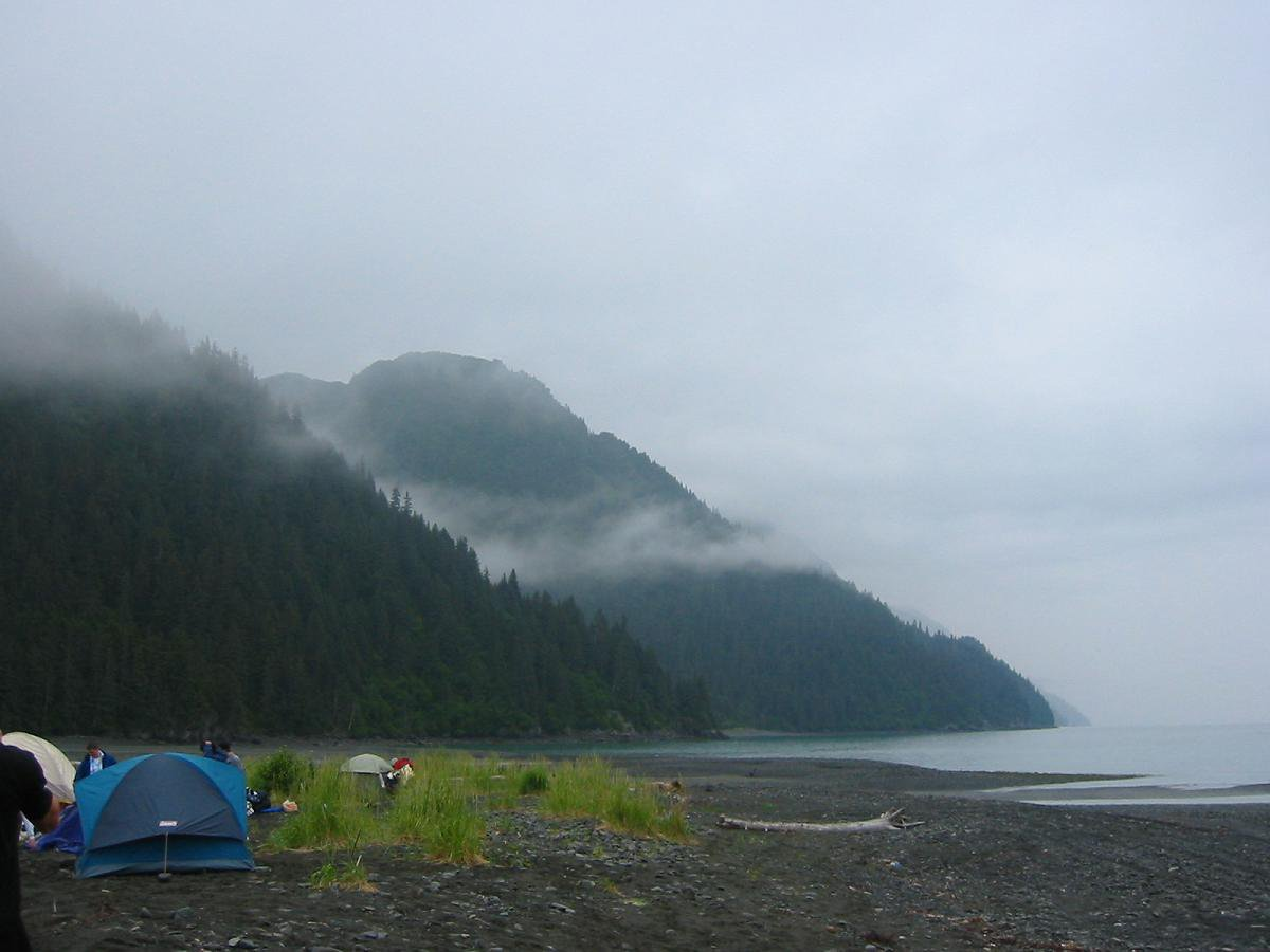 Surrounding our July 3-5th campsite in Seward were a lake, mountains, ocean, beach, tons of fog, gla