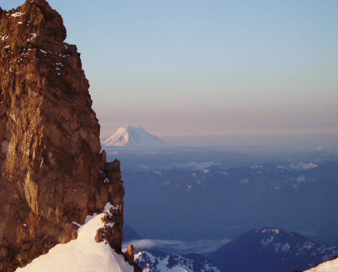 Shot of Mt. Adams, looking through Cadaver Gap on the Ingraham Glacier