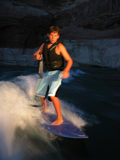 Wakesurfing at Night