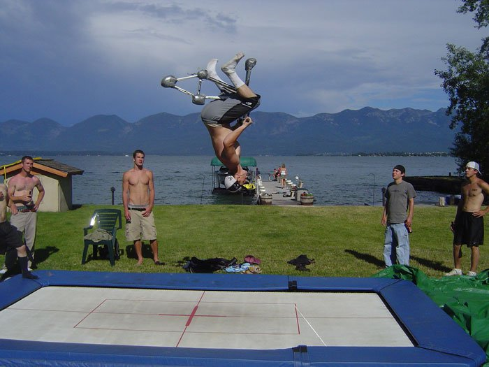 This was at my friends and I's b-day party. I turned 21.  Backflip on tramp bike by my friend, Colto