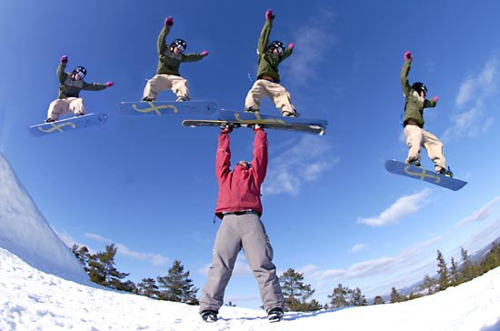 Me with the skiis and Nisse(14yrs) on snowboard