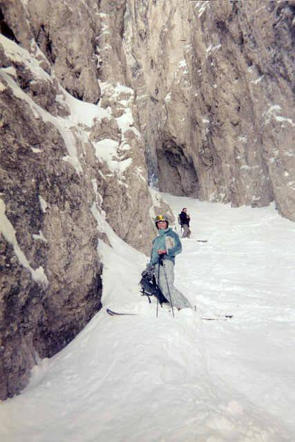 Me in the Canale Holzer (the couloir in Italy that Nobis/Black skied, featured in High Life)