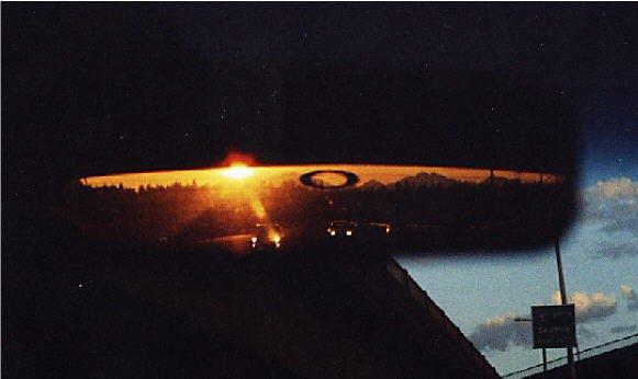 Sunrise in my rearview mirror, kinda neet