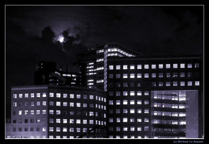 Rivershore building at night