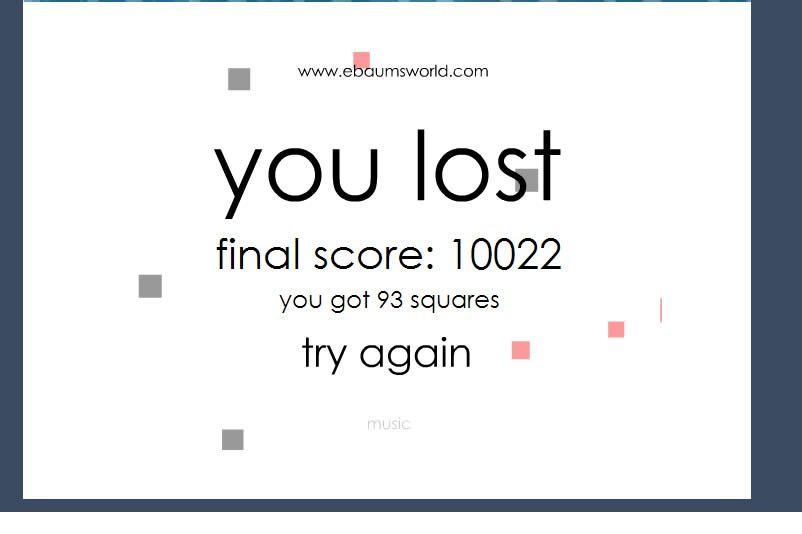 My score in squares