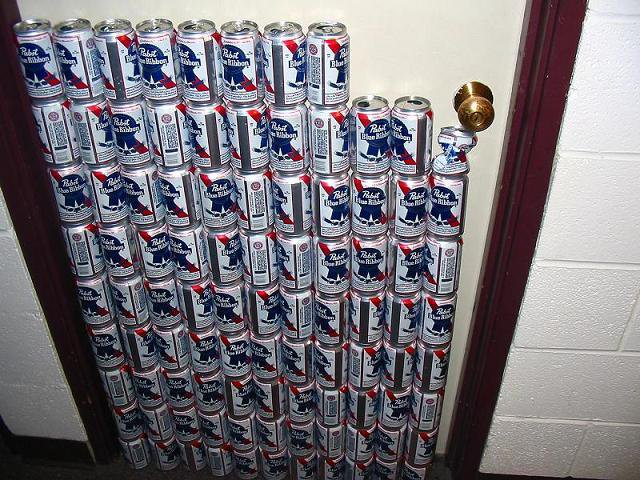 96 beer cans full of water