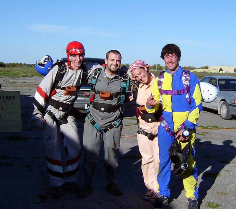 Waiting for the plane...getting ready for our first solo skydive