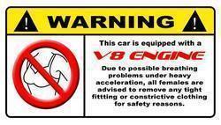 V8 Warning Lable