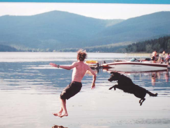 me and my dog jumping into the lake