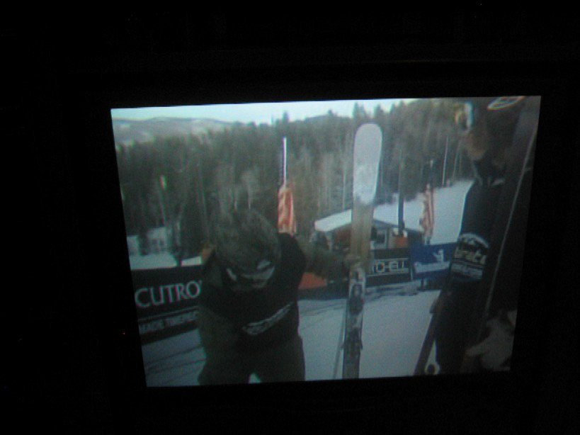 picture of Pep's skis from ultimate bumps and jumps..CBS Sports