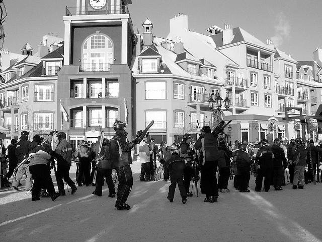 At the very bottom of Tremblant village, black and white.