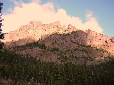Alpenglow on the Needles and Mt. Clark