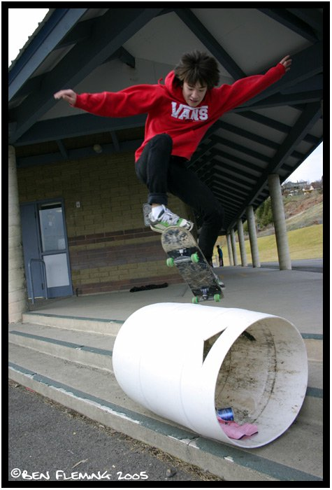 Ollie over trashcan