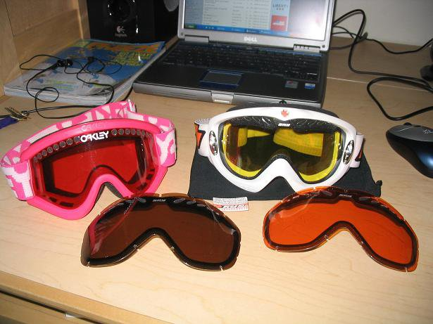 spy and oakley goggles for sale w/extra lenses