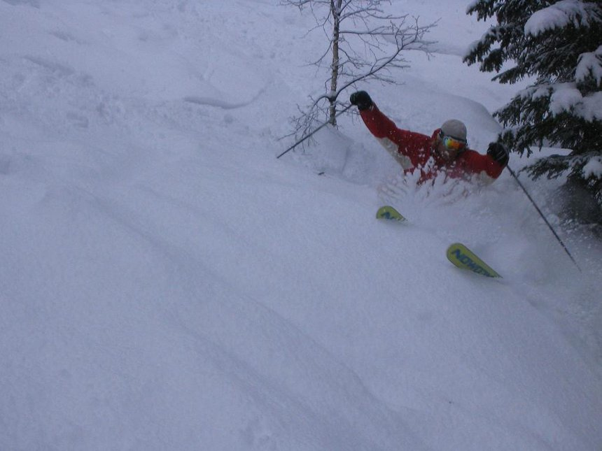 Riding some nice pow....