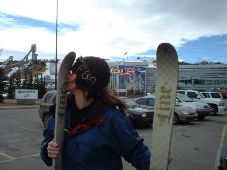 i love new skis....and how badly cop is melting in the background
