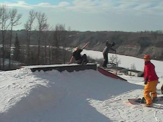 Snowboardr falls chasing me haha (Bad Quality)