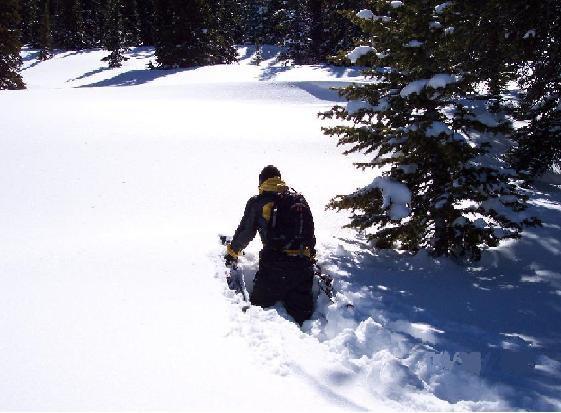 hiking into amazing powder