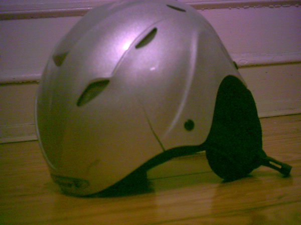 My cracked helmet, attempting a 540